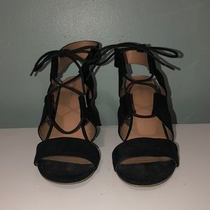 """Suede black high heels. Heel is about 3"""" tall."""